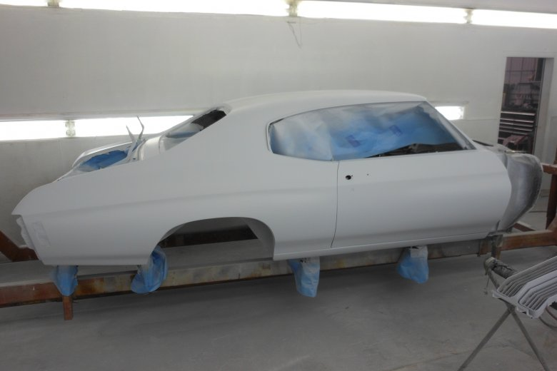 Here is the body in its third coat of primer and ready to be wet sanded, and then on to paint.