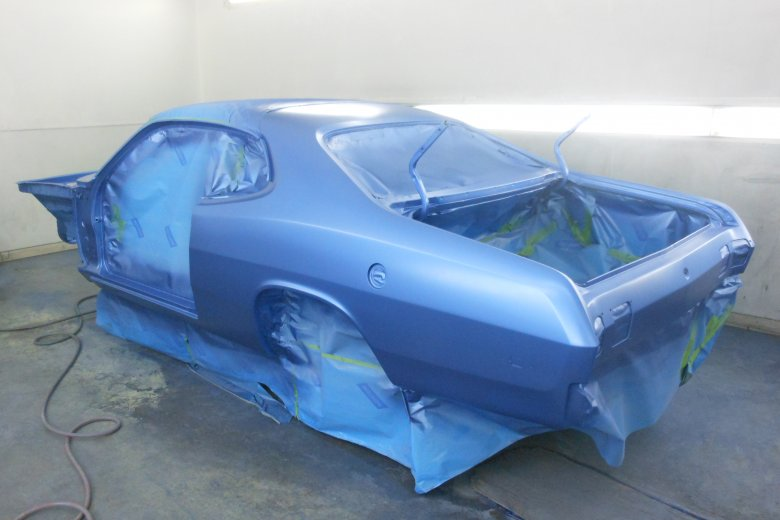 Here is the car with the base coat on before clearing. The color is Bright Blue Poly.