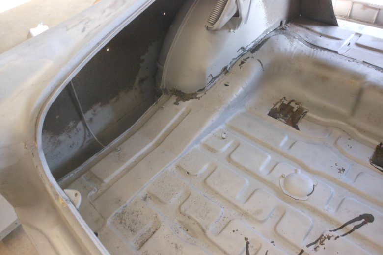Here are some pictures of the car after sand blasting the body inside and out.
