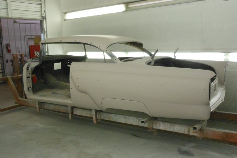 Here the car is in primer and ready to be blocked.
