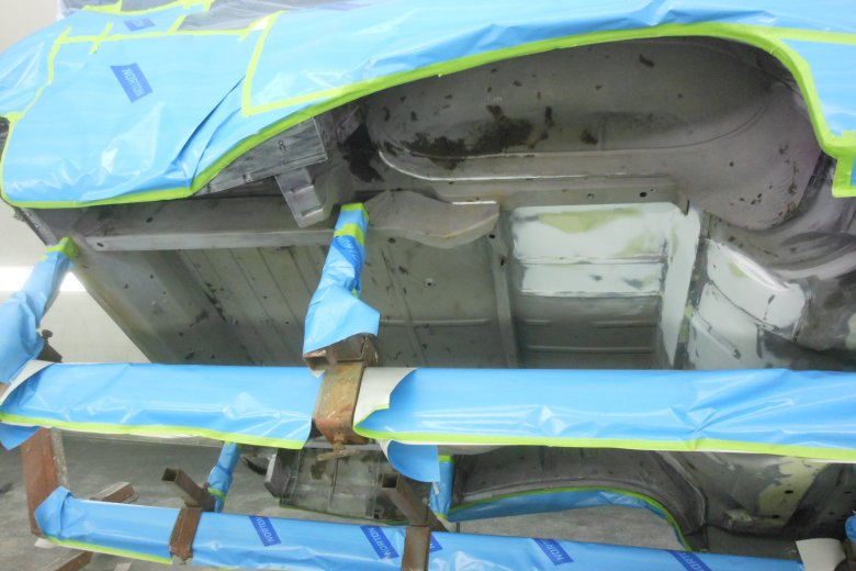Here is the underside of the car ready for bedliner.